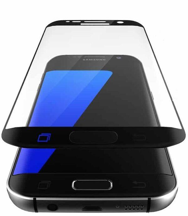 Samsung Galaxy S7 edge schwarz Panzerglas als Displayschutz seite